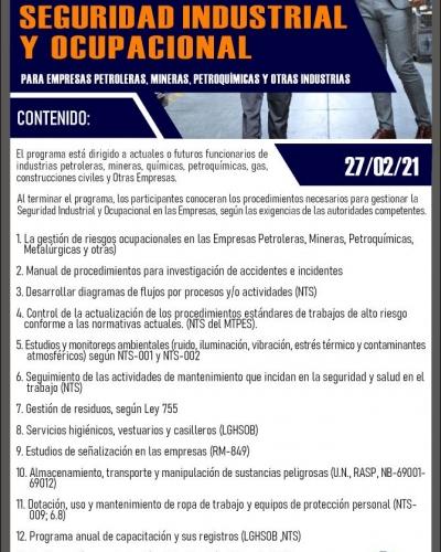 FORMACION DE JEFES DE SEGURIDAD INDUSTRIAL Y OCUPACIONAL